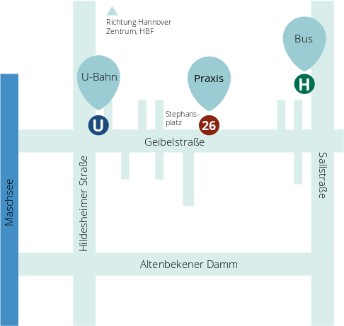 Anfahrt Geibelstraße 26 30173 Hannover Südstadt
